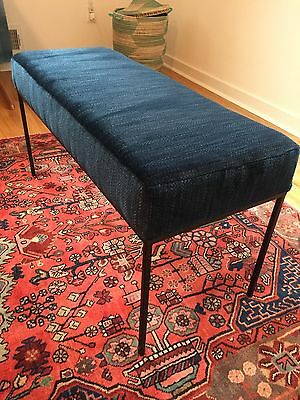 abc carpet & home Black Metal Frame Legs Bench Upholstered in Blue Green Fabric (Black Metal Frame Bench)