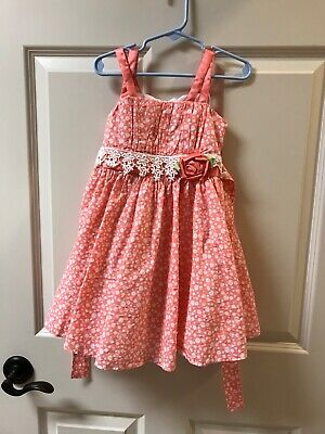 Girls Sun Dress (GIRLS BONNIE JEAN SUN DRESS ORANGE & WHITE SIZE)