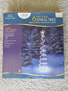 6FT-LIGHTED-SPIRAL-TREE-CHRISTMAS-YARD-OUTDOOR-DECORATION-CLEAR-WHITE ...