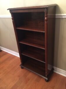 Antique Bookcase - Walnut - 4 Shelves- Compact Size- Exc. Cond.