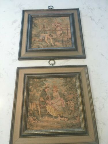 2 Antique Framed Needlepoint Tapestry Wall Art Courtship Scene Lady & Man Brown