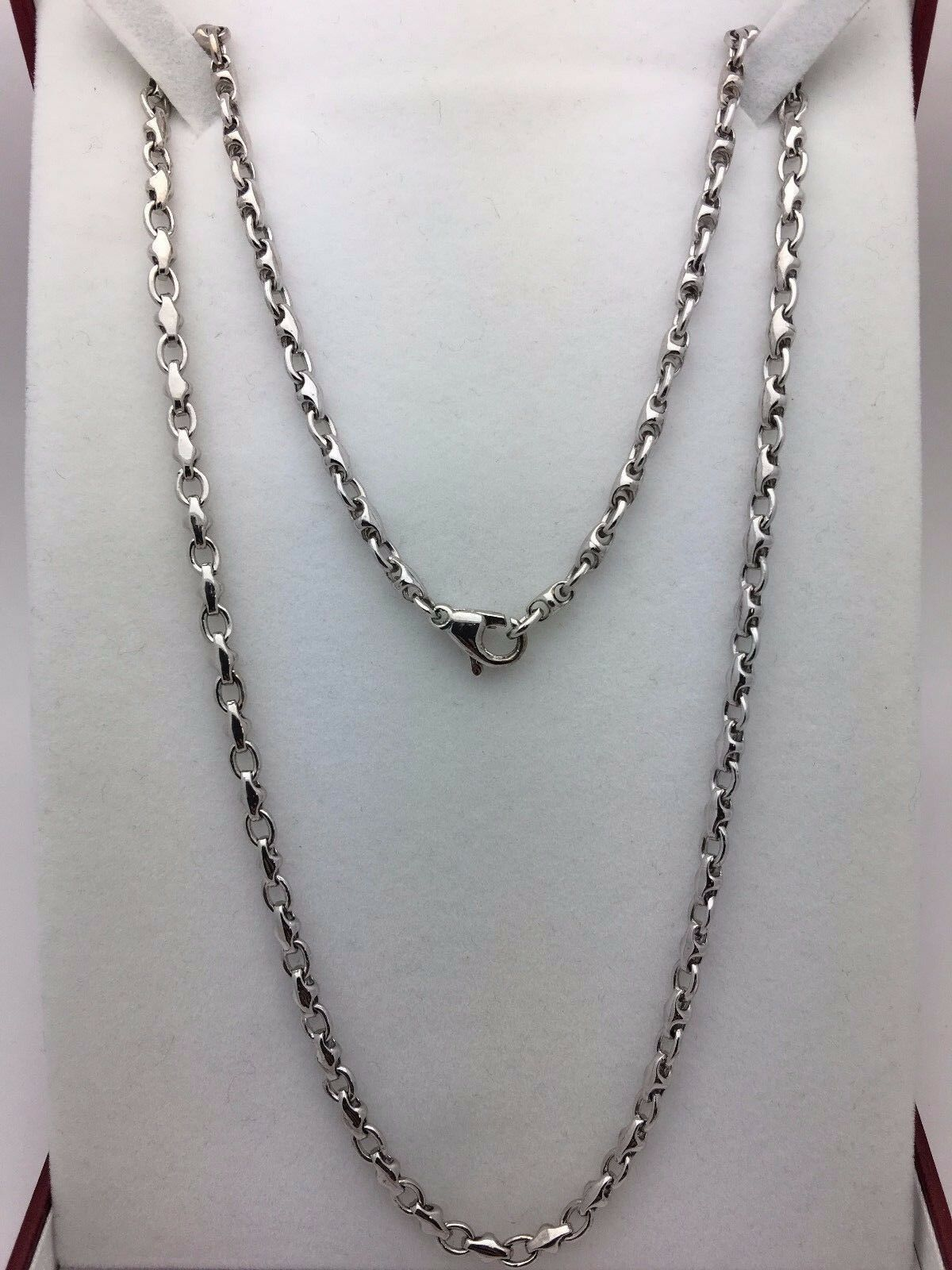 10k White Gold Handmade Fashion Link Necklace 20 Quot 4mm 23 5