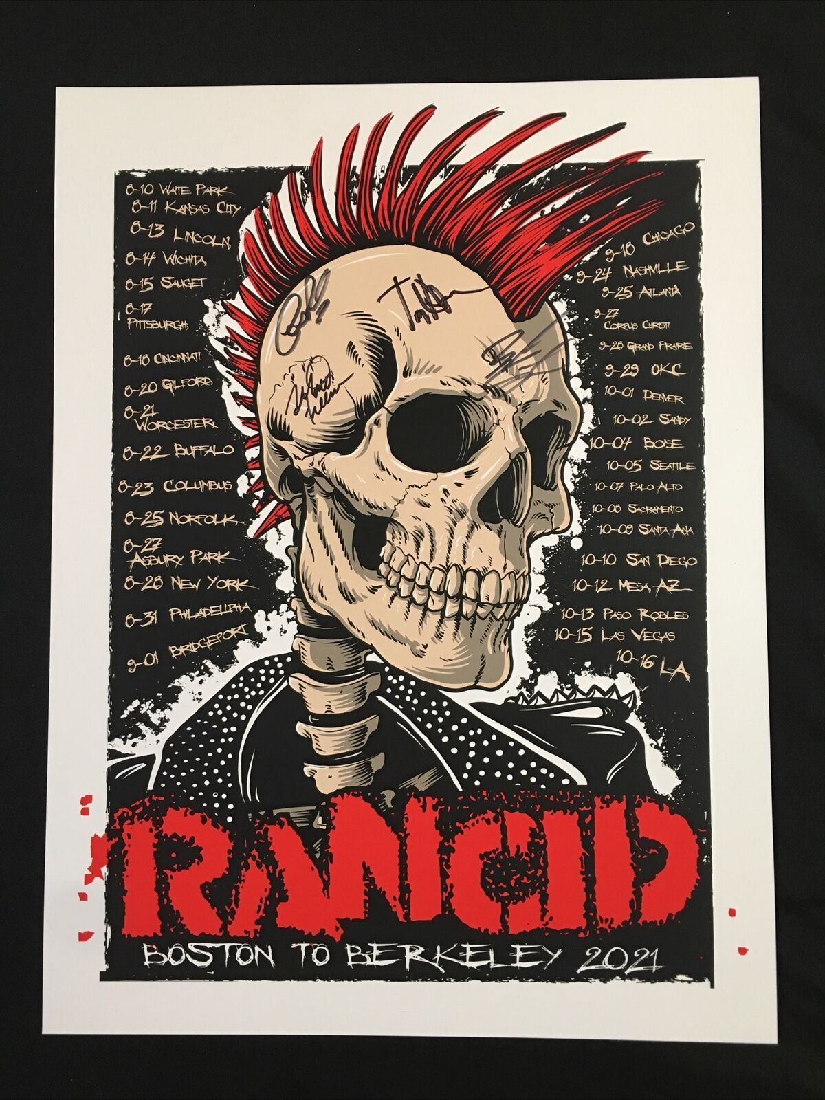 Rancid 2021 4x Autographed Poster Print Boston To Berkeley Tour - Signed By Band - $150.00