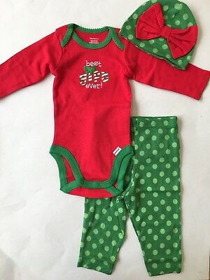 NEW Gerber Baby Girl 3 Piece Set Knit Outfit Christmas - Size 3-6 M (Outfits Christmas)