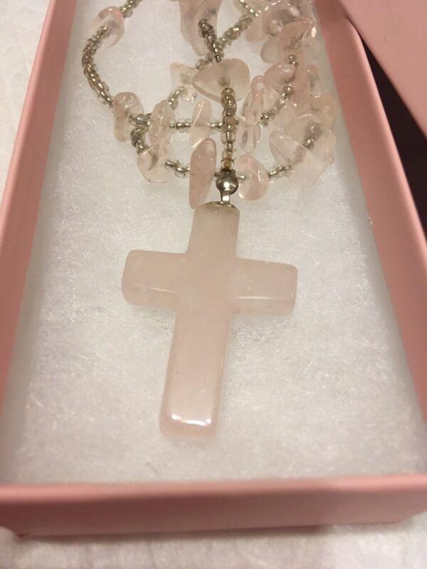 Casa Blessed Beautiful Rose Quartz Love Beaded Cross Rosary John Of God Rare