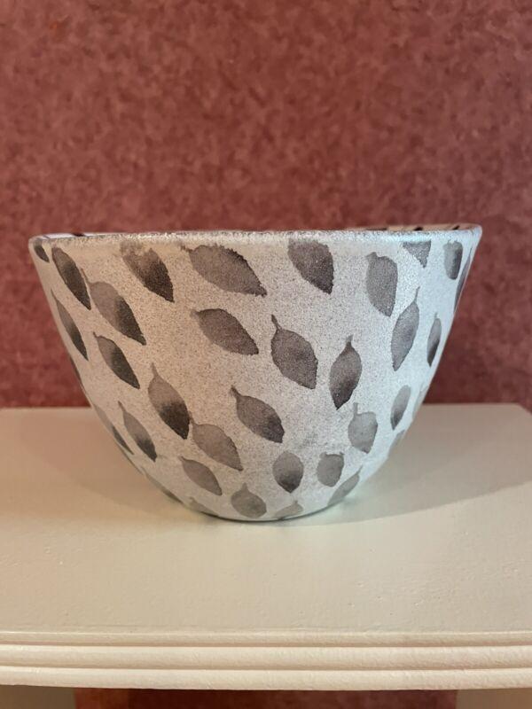 Anthropologie Hiyami Deep Bowl Hand Painted in Portugal Grey Leaf Design