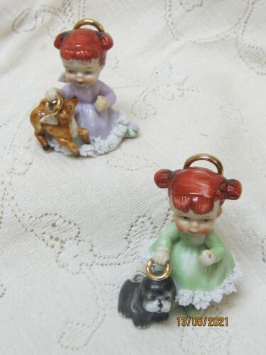 Pair VTG Ardalt Angels Holding Halo over Puppy & Deer ~ red haired angels