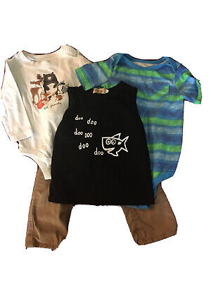 Lot Of 4 Baby Boy Clothes 1 Pants, 1 Tank Top, 2 Bodysuits Size 12-18m