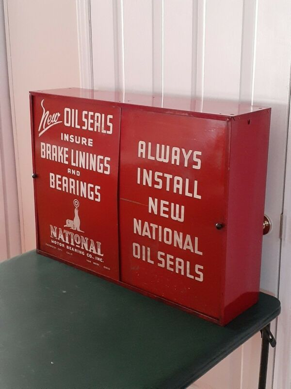 Vintage Auto Parts Cabinet National Motor Bearing Co. OIL SEALS brakes