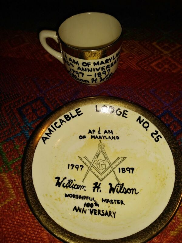 Incredibly Rare Masonic Cup And Saucer From 1897 Lodge 25 Sabin Crest O Gold RM