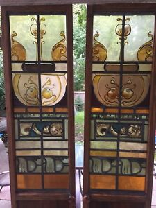Custom Antique Stained Glass Oak Cabinet/Closet Doors