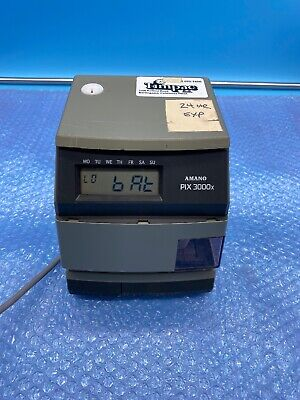 Amano Pix-3000x Digital Electric Time Stamp Recorder Clock Punch In Out - No Key