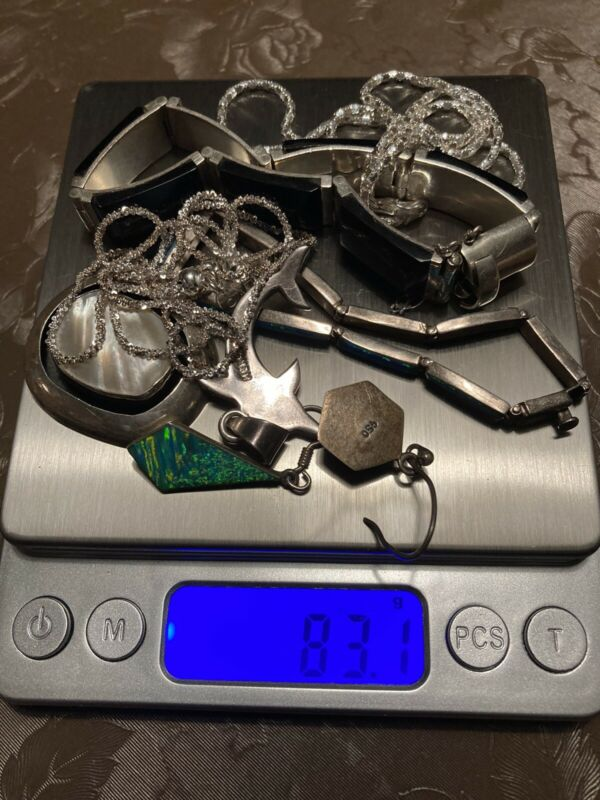 Sterling Silver 950 Scrap Jewelry Lot Milor Chains 83g Synthetic Stones