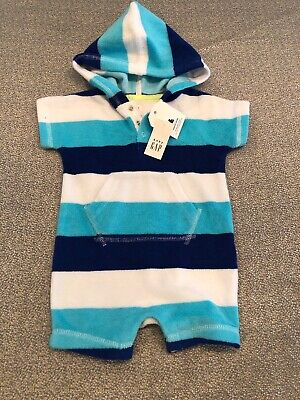 NWT Baby Gap Boy Blue Striped Romper terry cloth swim suit cover-up 0 3 6 TWINS Boys Blue Cover Up