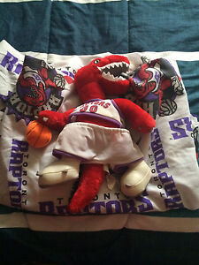 Vintage Toronto Raptors fitted bedsheet and plush mascot