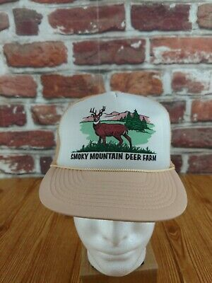 Smoky Mts Smoky Mountain Deer Farm Vintage Trucker Hat Snapback Cap Mohr's Flaw