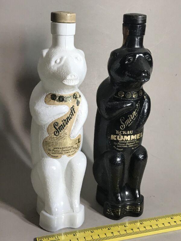 Pair SMIRNOFF Black & White POLAR BEAR BOTTLES ECKAU KUMMEL Old Orig Labels