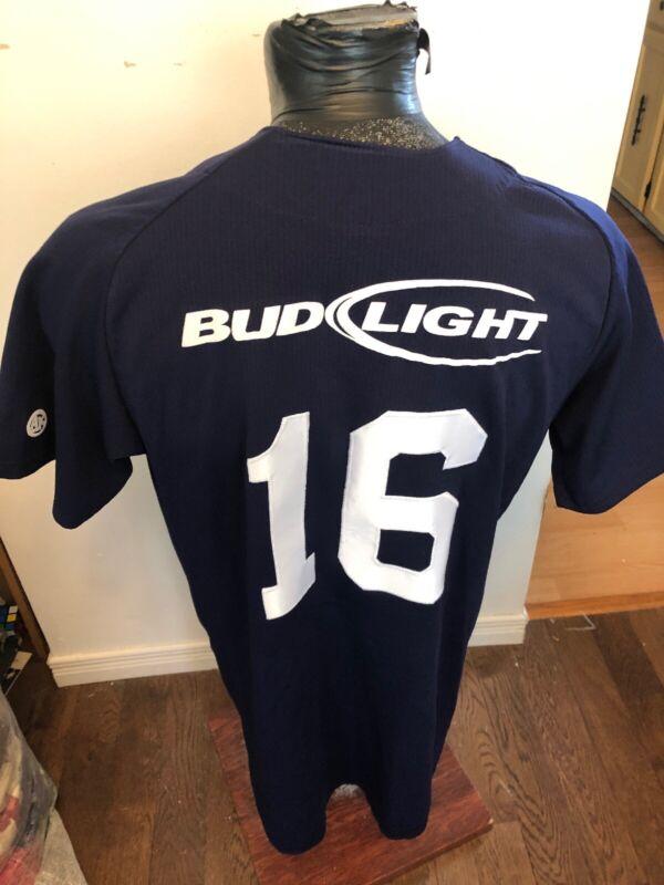 MENS Large Athletic Knit Baseball Jersey Hitmen Bud Light Beer #16