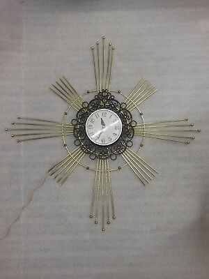 Mid Century STARBURST Brass WALL CLOCK by GE Mdl. 2151 - for repair or parts!