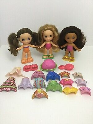 Fisher Price Snap N Style 3 Dolls Lot 20pcs Clothes Shoes Hats