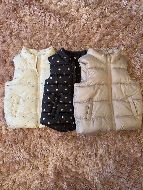 Lot Of 3 Girls OLD NAVY Toddler Puffer Vest Size 18-24 Months- New