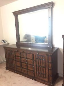 Large Wood Dresser (With Mirror)