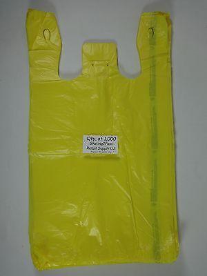1000 Qty. Yellow Plastic T-shirt Retail Shopping Bags W Handles 11.5 X 6x 21