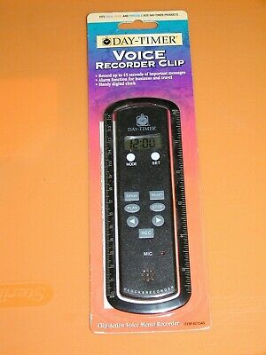Vintage Day Timer Voice Memo Recorder Clip Reminder By Acco 7x2in 1998 Mint