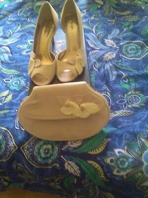 womens satin shoes and matching bag rose pink size uk6