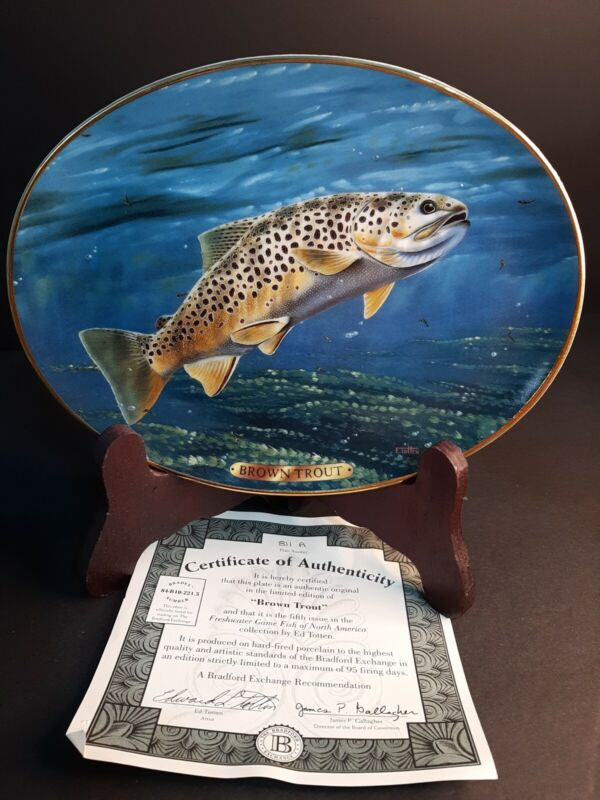 1995 Bradford Exchange Collector Plate Brown Trout By Edward Totten