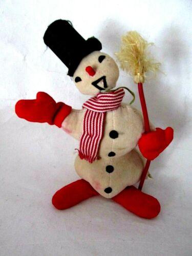 Vintage Christmas Plush Snowman Creepy Top Hat Broom Figurine Stuffed Japan Rare
