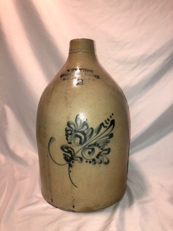 antique american stoneware jug new york stoneware co fort edward folk art 19th c