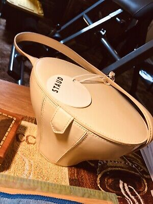 STAUD Leather Bucket Bag - NEW With tag- Mirror suede Interior - Cream White