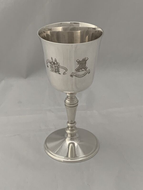 ASPREY & CO Solid Silver GOBLET WINE GLASS 1972 London CRESTED Sterling Silver
