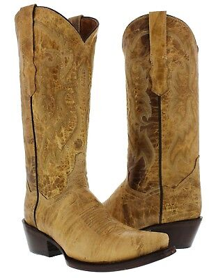 Casual Western Cowboy Boots (Womens Tanned Classic Western Casual Style Cowboy Boots Plain Leather )
