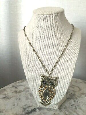 "Statement Necklace Owl Goldtone Resin Rhinestone Brown Jewelry 19""NEW Gift Box"
