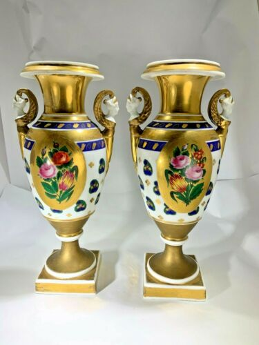 Antique Pair of Sevres Style French Old Paris Hand Painted Paisley Vase/Urns