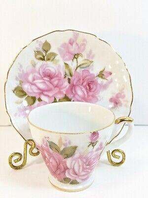 NORCREST FINE CHINA DEMITASSE TEACUP & SAUCER SET PINK ROSE FLORAL GOLD TEA CUP