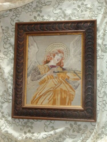 ANTIQUE PETIT POINT TAPESTRY GABRIEL ANGEL PLAYING VIOLIN CARVED WOOD FRAME