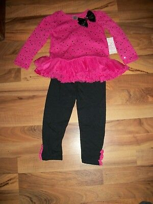 Swiggles 2-Piece Pink Sequins Top with Ruffle & Leggings Set Size 24 Months