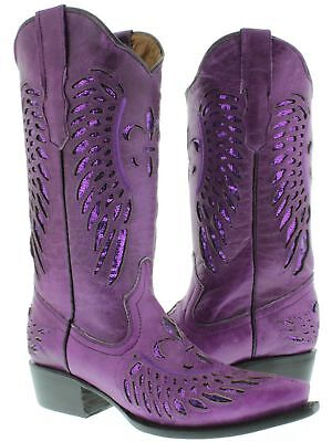 Cowgirl Formal Wear (Womens Purple Flower Sequins Wings Leather Wear Cowgirl Boots Pointed)