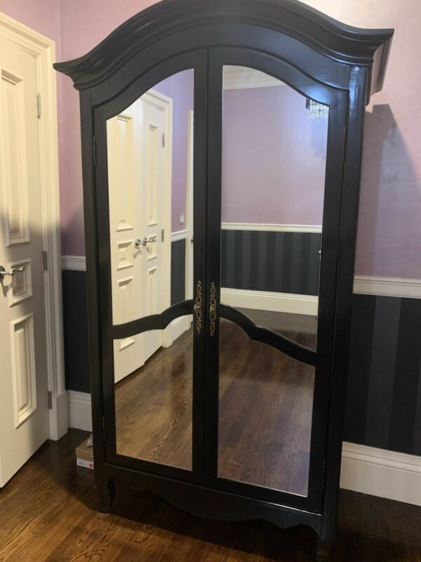 Antique French Double Armoire with Mirrored Doors Carved Wardrobe