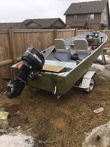14' aluminum boat with steering console