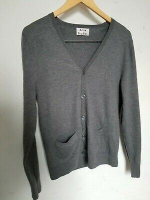 Acne Studios Sz M Clissold Wool Button Cardigan Sweater Womens M GRAY v neck