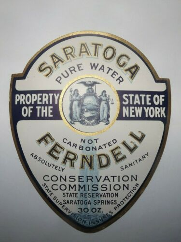 Saratoga Ferndell Pure Water Property Of New York State Paper Label Vtg