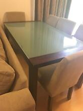 Glass Top Dining Table + 5 chairs Hughes Woden Valley Preview