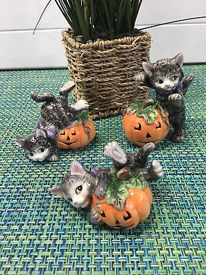 Fitz And Floyd Halloween Harvest (3 Fitz & Floyd Playful Cat On Pumpkin Halloween Harvest Figurine)