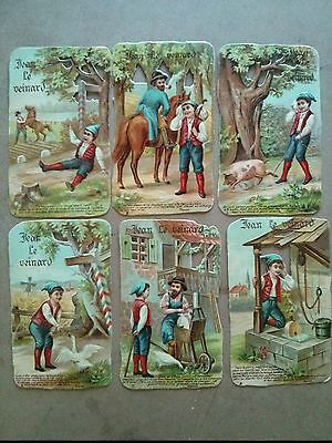 #Original 1800's Jean Le Veinard Lot of 6 Die Cut Paper 3 x 5""