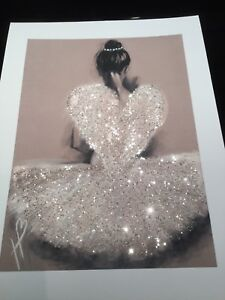 Glitter ballerina angel wing picture A4 print only NO FRAME glitter diamante
