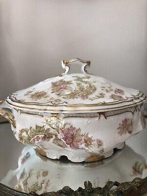 Antique Haviland LIMOGES Covered Vegetable Dish Pink Flower Gold Gilt Double Rim